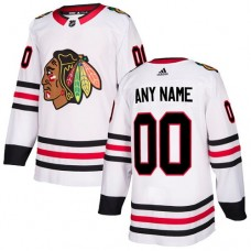 Customized Men's Chicago Blackhawks Away White Jersey