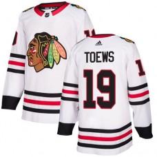 Women's Chicago Blackhawks #19 Jonathan Toews Away White Authentic Jersey