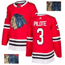 Chicago Blackhawks #3 Pierre Pilote Black Indians-Face Red Authentic Jersey