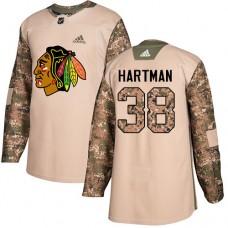 Youth Chicago Blackhawks #38 Ryan Hartman Veterans Day Practice Camo Authentic Jersey