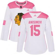 Women's Chicago Blackhawks #15 Artem Anisimov Pink-White Fashion Authentic Jersey