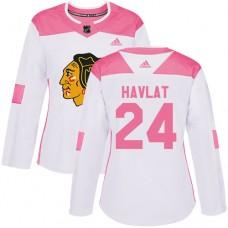 Women's Chicago Blackhawks #24 Martin Havlat Pink-White Fashion Authentic Jersey