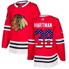 Youth Chicago Blackhawks #38 Ryan Hartman USA Flag Fashion Red Authentic Jersey
