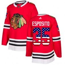 Youth Chicago Blackhawks #35 Tony Esposito USA Flag Fashion Red Authentic Jersey
