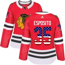 Women's Chicago Blackhawks #35 Tony Esposito USA Flag Fashion Red Authentic Jersey