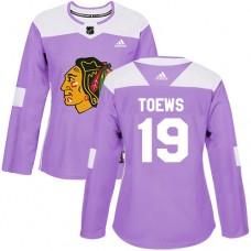 Women's Chicago Blackhawks #19 Jonathan Toews Fights Cancer Practice Purple Authentic Jersey
