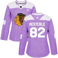 Women's Chicago Blackhawks #82 Jordan Oesterle Fights Cancer Practice Purple Authentic Jersey
