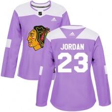 Women's Chicago Blackhawks #23 Michael Jordan Fights Cancer Practice Purple Authentic Jersey