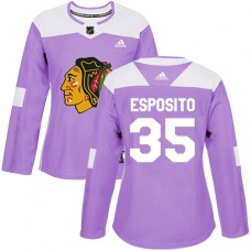 Women's Chicago Blackhawks #35 Tony Esposito Fights Cancer Practice Purple Authentic Jersey