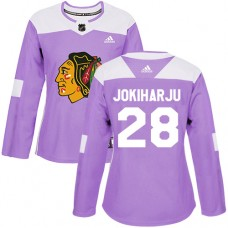 Women's Chicago Blackhawks #28 Henri Jokiharju Fights Cancer Practice Purple Authentic Jersey