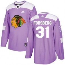 Youth Chicago Blackhawks #31 Anton Forsberg Fights Cancer Practice Purple Authentic Jersey