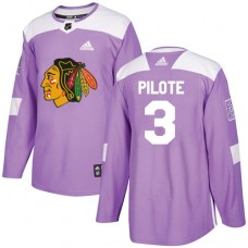 Youth Chicago Blackhawks #3 Pierre Pilote Fights Cancer Practice Purple Authentic Jersey