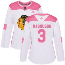 Women's Chicago Blackhawks #3 Keith Magnuson Pink-White Fashion Authentic Jersey