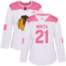 Women's Chicago Blackhawks #21 Stan Mikita Pink-White Fashion Authentic Jersey