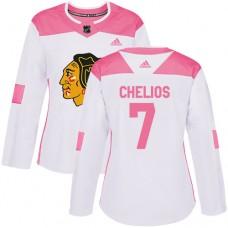 Women's Chicago Blackhawks #7 Chris Chelios Pink-White Fashion Authentic Jersey
