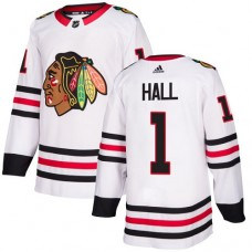 Women's Chicago Blackhawks #1 Glenn Hall Away White Authentic Jersey