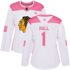 Women's Chicago Blackhawks #1 Glenn Hall Pink-White Fashion Authentic Jersey