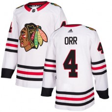 Youth Chicago Blackhawks #4 Bobby Orr Away White Authentic Jersey