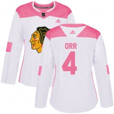 Women's Chicago Blackhawks #4 Bobby Orr Pink-White Fashion Authentic Jersey