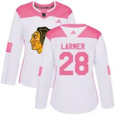 Women's Chicago Blackhawks #28 Steve Larmer Pink-White Fashion Authentic Jersey