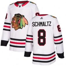Women's Chicago Blackhawks #8 Nick Schmaltz Away White Authentic Jersey