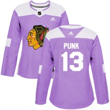 Women's Chicago Blackhawks #13 CM Punk Fights Cancer Practice Purple Authentic Jersey