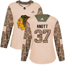 Women's Chicago Blackhawks #37 Graham Knott Veterans Day Practice Camo Authentic Jersey