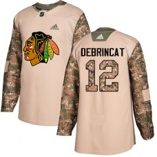 Youth Chicago Blackhawks #12 Alex DeBrincat Camo Veterans Day Practice Authentic Jersey