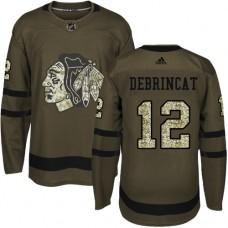 Chicago Blackhawks #12 Alex DeBrincat Salute to Service Green Authentic Jersey