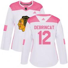Women's Chicago Blackhawks #12 Alex DeBrincat Pink-White Fashion Authentic Jersey
