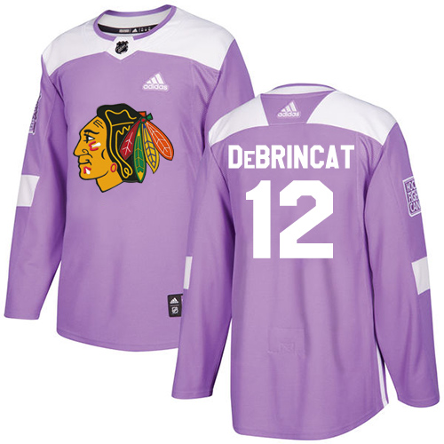Youth Chicago Blackhawks #12 Alex DeBrincat Fights Cancer Practice Purple Premier Jersey