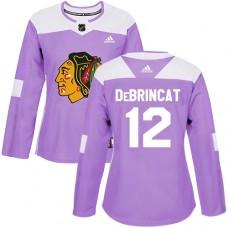 Women's Chicago Blackhawks #12 Alex DeBrincat Fights Cancer Practice Purple Authentic Jersey