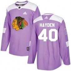 Chicago Blackhawks #40 John Hayden Fights Cancer Practice Purple Authentic Jersey