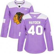 Women's Chicago Blackhawks #40 John Hayden Fights Cancer Practice Purple Authentic Jersey
