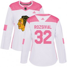 Women's Chicago Blackhawks #32 Michal Rozsival Pink-White Fashion Authentic Jersey