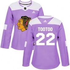 Women's Chicago Blackhawks #22 Jordin Tootoo Fights Cancer Practice Purple Authentic Jersey