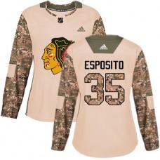 Women's Chicago Blackhawks #35 Tony Esposito Veterans Day Practice Camo Authentic Jersey