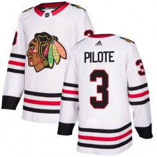 Youth Chicago Blackhawks #3 Pierre Pilote Away White Authentic Jersey