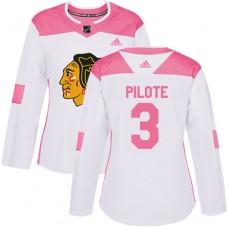 Women's Chicago Blackhawks #3 Pierre Pilote Pink-White Fashion Authentic Jersey