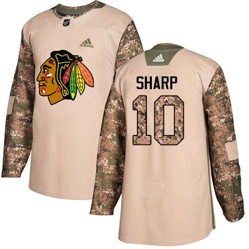 Chicago Blackhawks #10 Patrick Sharp Camo Veterans Day Practice Authentic Jersey