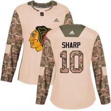Women's Chicago Blackhawks #10 Patrick Sharp Camo Veterans Day Practice Authentic Jersey
