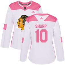 Women's Chicago Blackhawks #10 Patrick Sharp Pink-White Fashion Authentic Jersey