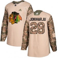 Youth Chicago Blackhawks #28 Henri Jokiharju Camo Veterans Day Practice Authentic Jersey