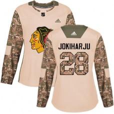 Women's Chicago Blackhawks #28 Henri Jokiharju Camo Veterans Day Practice Authentic Jersey