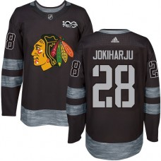 Chicago Blackhawks #28 Henri Jokiharju 1917-2017 100th Anniversary Black Authentic Jersey