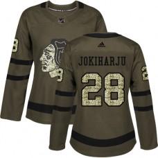 Women's Chicago Blackhawks #28 Henri Jokiharju Salute to Service Green Authentic Jersey