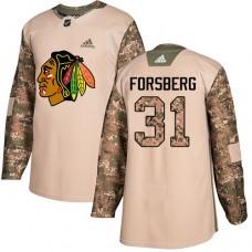 Chicago Blackhawks #31 Anton Forsberg Camo Veterans Day Practice Authentic Jersey