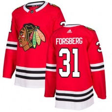 Youth Chicago Blackhawks #31 Anton Forsberg Home Red Authentic Jersey