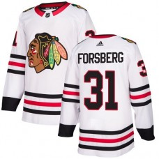 Youth Chicago Blackhawks #31 Anton Forsberg White Away Authentic Jersey