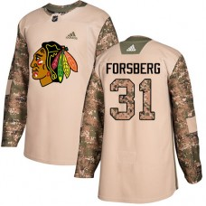 Youth Chicago Blackhawks #31 Anton Forsberg Camo Veterans Day Practice Authentic Jersey
